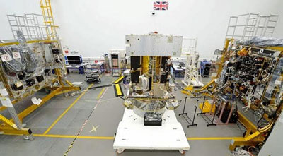 Legend: Airbus' Solar Orbiter in the final stages of integration in Stevenage, UK, and ready for full system electrical testing.