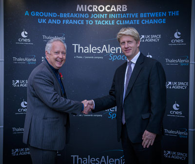 Ben Olivier, CEO of Thales Alenia Space in the UK and Science Minister, Jo Johnson, on a visit to Thales Alenia Space's Belfast facility