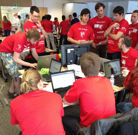 Participants at the Satellite Applications Catapult #AppsInSpace Hackathon