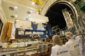 Alphasat I-XL, built by Astrium for Inmarsat, following completion of thermal vacuum testing at Toulouse facility.