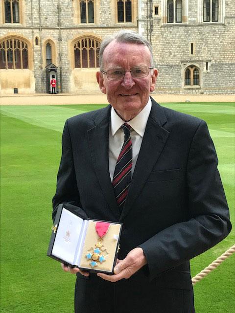 Paul Flanagan collecting CBE