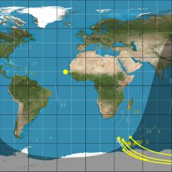DoT-1 sub-satellite track (white) and GPS reflection tracks (yellow) collected during 40 minute data operation.