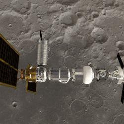 Lunar Gateway with Orion Moon backdrop