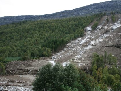 Landslide in Romsdalen, Norway in 2011. Landslides are one of the geohazards that will be monitored in the INVISON project. (Photo credit: Knut Stalsberg)