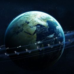 IOSM graphic featuring earth and orbiting satellites