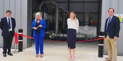 Science Minister Amanda Solloway opens the National Space Propulsion Test Facility (NSPTF), standing alongside Matthew Palmer (Nammo Space), Lucy Stock (Nammo Space), and Buckingham MP Greg Smith. (Copyright UK Space Agency).