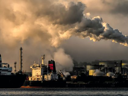 Pollution from a refinery contributing to climate change